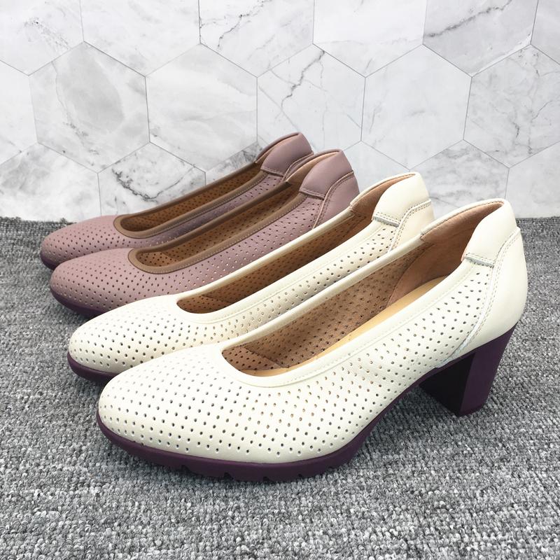 柜雅氏浅口圆头单鞋粗跟真皮鞋夏季洞洞软底凉鞋透气镂空妈妈女鞋