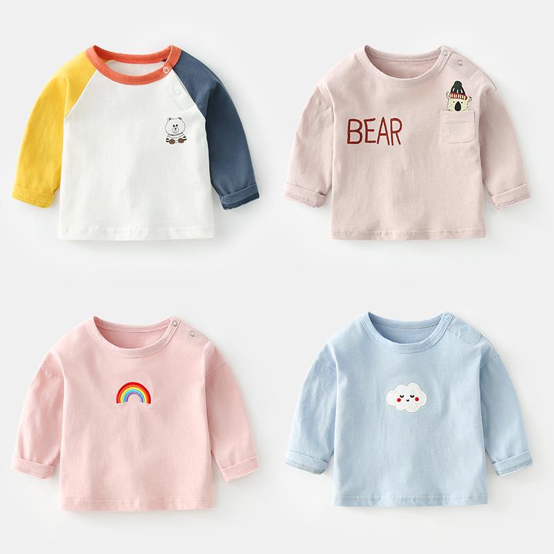 婴儿衣服男春秋一岁0-3个月新生儿上衣纯棉体恤秋季宝宝T恤女长袖