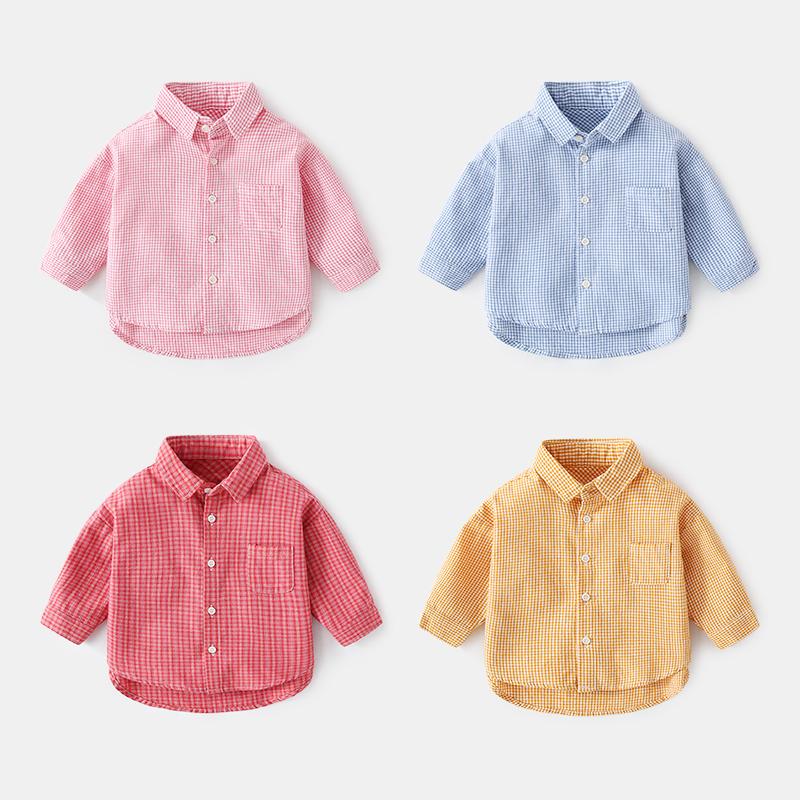 小宝宝格子衬衫男婴幼儿衣服春秋长袖上衣女婴儿秋装洋气纯棉衬衣