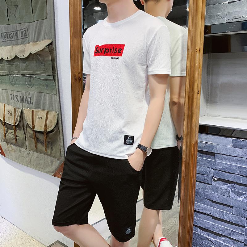 男士休闲运动套装2020夏季新款短袖运动服男装宽松两件套衣服
