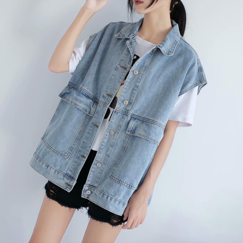 Harajuku ins Vintage Denim Jacket Womens spring and summer big fat mm sleeveless work vest BF Vest Jacket Top