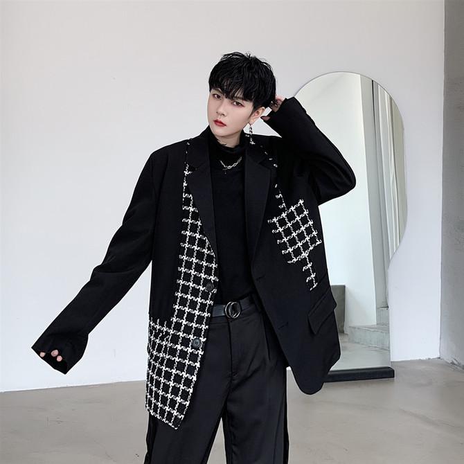 个性 外套男士 格子拼接设计感网红西服潮 山本暗黑风复古宽松小西装
