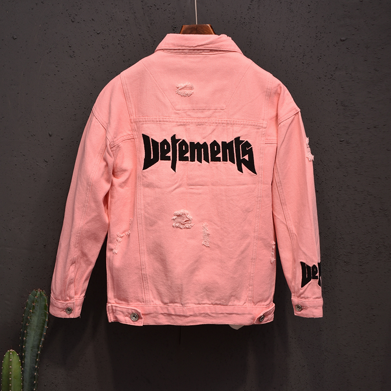 European station lovers Embroidered Denim Jacket Korean version ulzzang fashion pink jacket fashion brand hole top