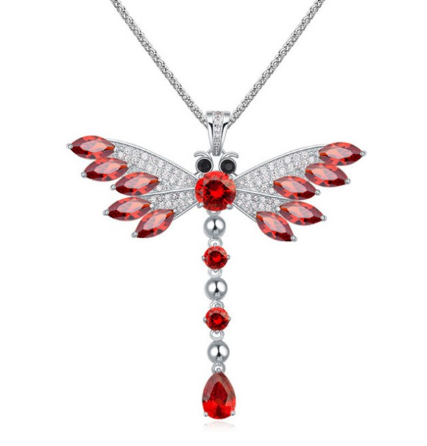 New fashion style ol female bamboo Yi Dragonfly clavicle zircon long fine sweater chain ornament student Necklace
