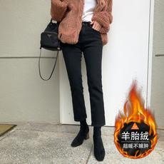 黑色牛仔裤女宽松2020冬季新款高腰显瘦外穿加绒九分烟管直筒裤子