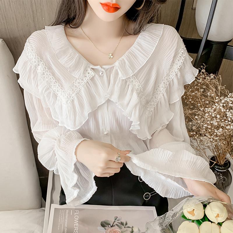 实拍2021新款荷叶边雪纺衬衫女设计感小众甜美褶皱长袖防晒衣