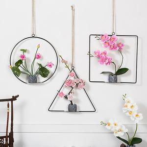 新中式铁艺花环壁饰室内装饰品客厅餐厅墙上挂件饭店卧室墙壁挂饰