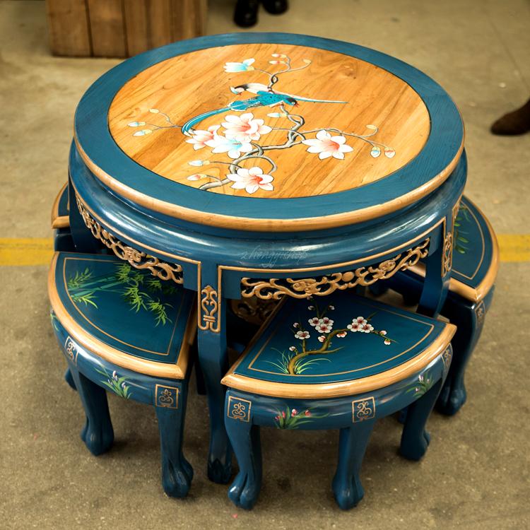 实木餐桌小户型家用圆形吃饭桌子中式桌椅组合餐厅榆木新中式茶桌