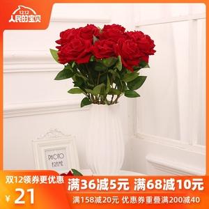 仿真玫瑰花绒布手感高档婚庆装饰花家居摆设花艺客厅假花