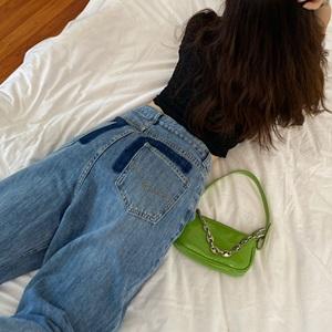 YF62770# 口袋印染宽松直筒裤牛仔裤女早秋新款垂感复古阔脚长裤 服装批发女装直播货源