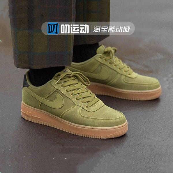 Nike Air Force 1 空军一号男子低帮复古军绿板鞋AQ0117-300包邮