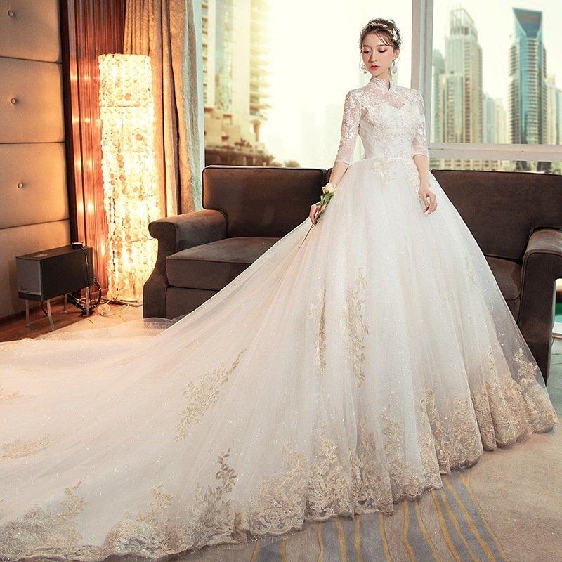 婚纱礼服2020新款赫本新娘结婚立领复古长拖尾女公主齐地长袖抖音