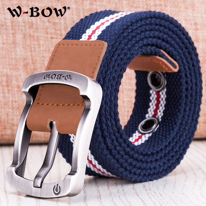 Canvas belt mens woven belt Korean version fashionable and simple student military training pin buckle youth long leisure belt