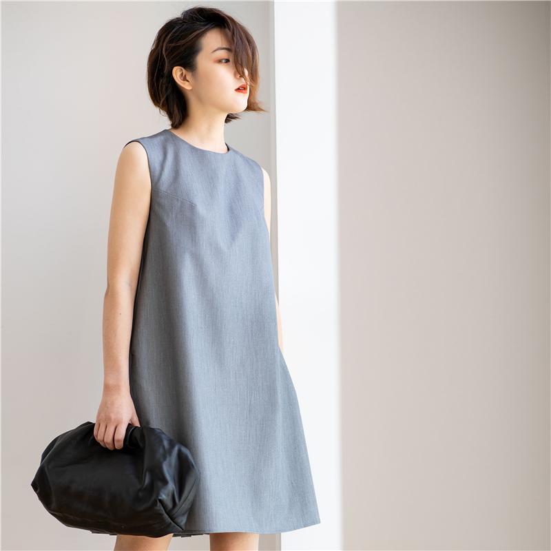 357商店春夏季新款灰色简约气质女神范轻熟风遮肚子显瘦连衣裙