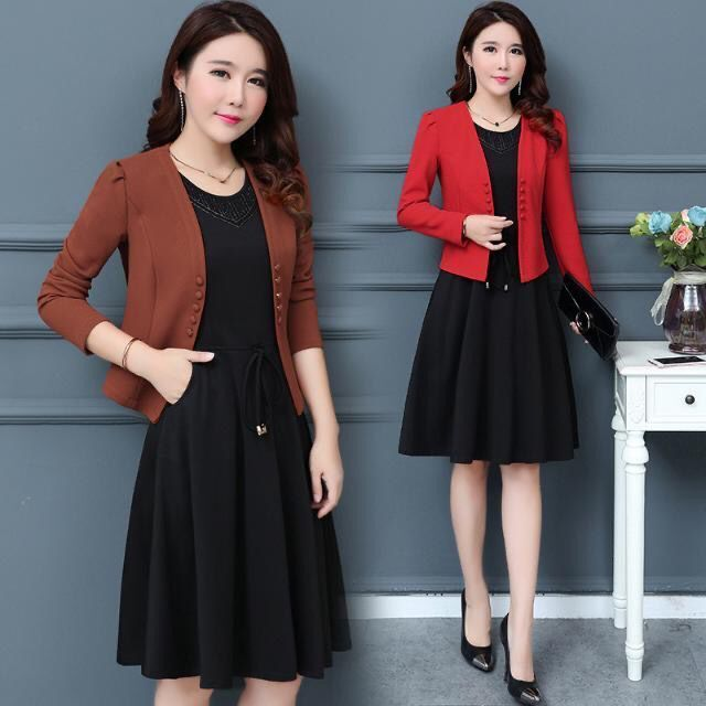 2021 spring new suit 30-35-40 middle aged mother autumn long sleeve two piece dress fashion
