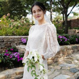 《蔷薇草》韩国蕾丝复古泡泡袖连衣裙轻婚纱旅拍婚礼敬酒服礼服