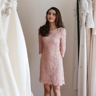 《北极光》现货韩国复古粉色蕾丝连衣裙礼服 婚礼聚会订婚伴娘服