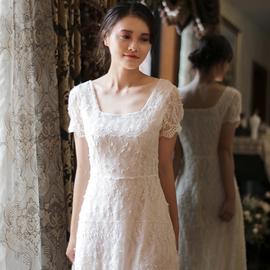 SHOOYA原创《林鸟》韩国复古蕾丝森系少女旅拍显瘦轻婚纱连衣裙图片