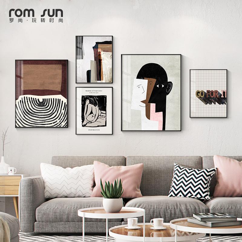 现代极简沙发背景墙创意客厅装饰画