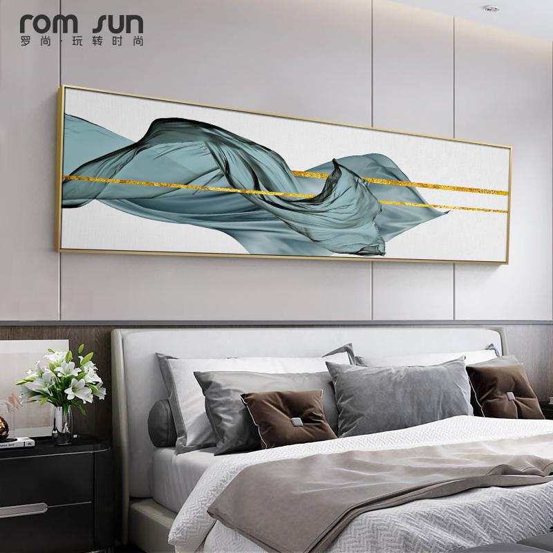 现代卧室床头横幅轻奢抽象背景墙