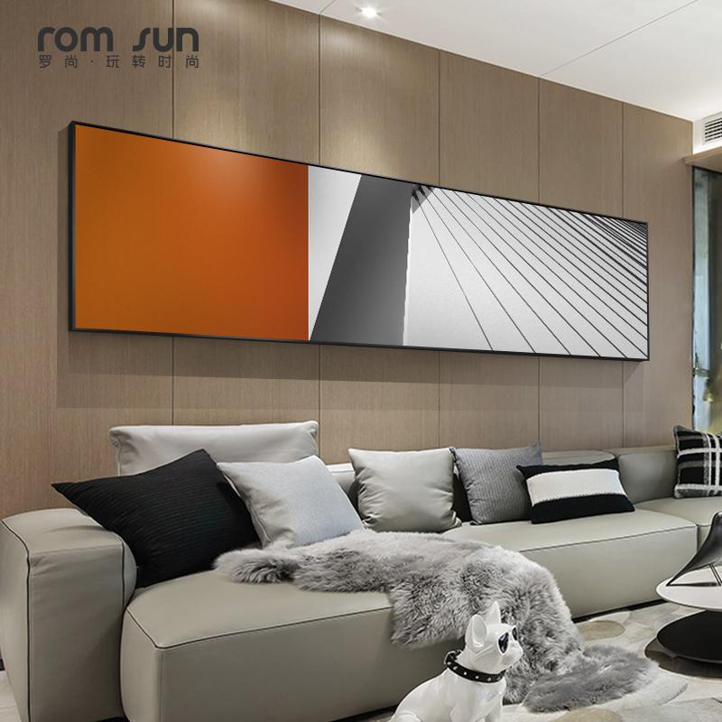 简约现代卧室个性床头大气横幅壁画
