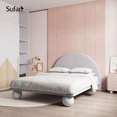 舒梵实木网红床布艺床现代简约北欧公主床双人床单人儿童床1.2米