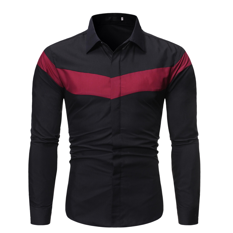 跨境 春秋季男装新款 拼色翻领休闲长袖衬衫 5308 P35