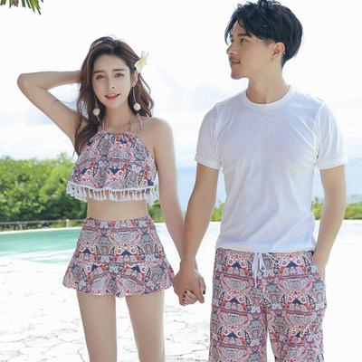 Couple swimsuit hot spring ladies three-piece bikini four-piece swimsuit slim conservative split beach pants suit