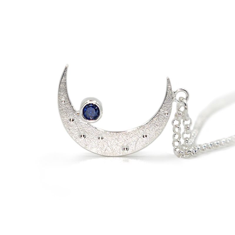 V ︱ original design, hand-made 925 silver pure silver Moon Necklace Pendant, gifts for creative lovers