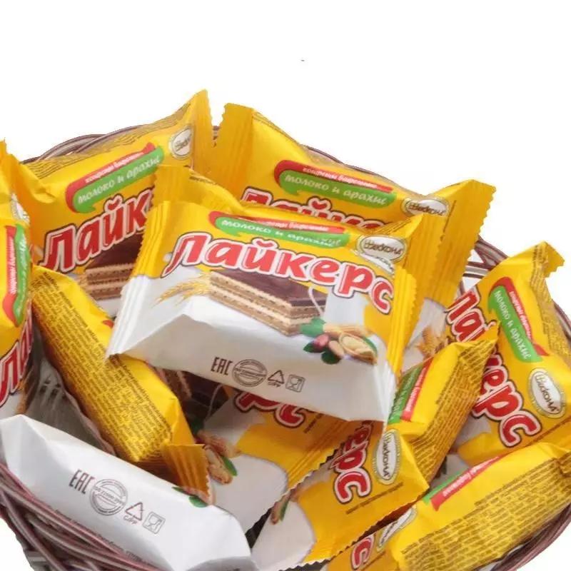 俄罗斯进口田园威化 休闲办公礼品好吃美味零食糖果年货 500g喜糖