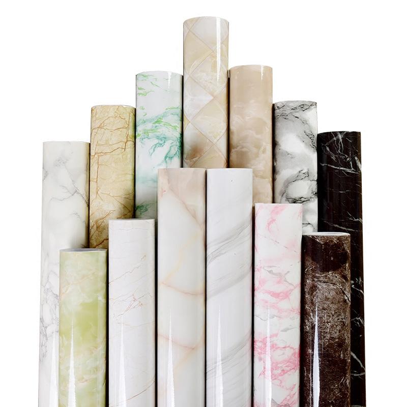 限时抢购加厚自粘大理石纹贴纸防水防油厨房台面卫生间灶台耐高温翻新地板