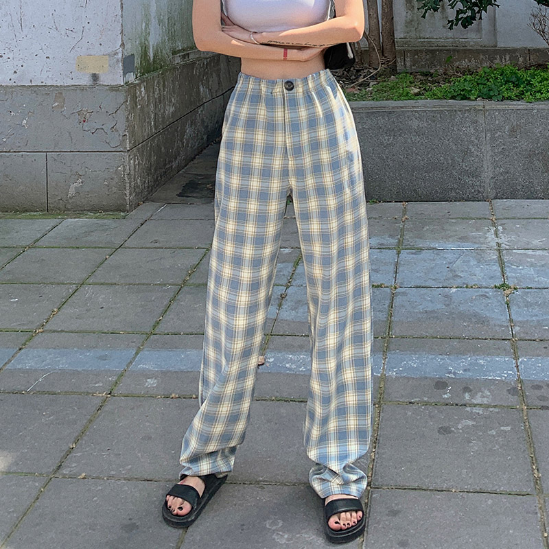 Plaid mop pants womens summer 2020 new Korean straight pants loose drape wide leg pants high waist plaid pants fashion