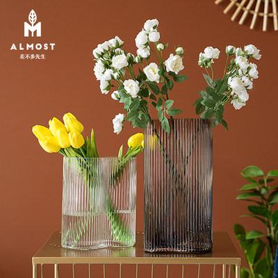 北欧轻奢创意玻璃花瓶现代简约家居客厅插花瓶摆件样板间装饰花器