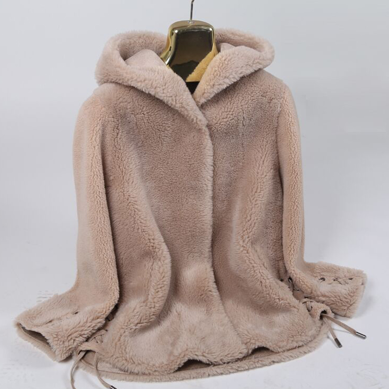 Womens granular cashmere coat 2019 new autumn and winter sheep cashmere fur one piece medium length fur Hooded Coat