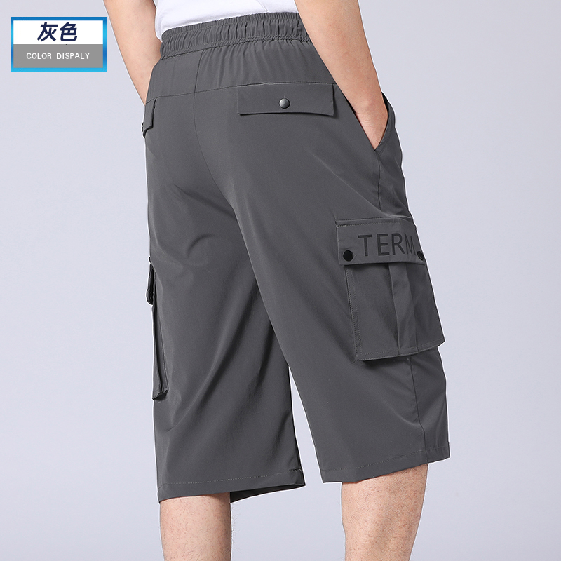 Dads casual shorts, loose middle-aged and old middle pants, big underpants, mens outer wear, middle-aged mens pure cotton ice silk Capris