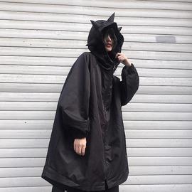 现货CHIL|秋冬加厚中长款外套女宽松大码暗黑连帽小恐龙外套风衣