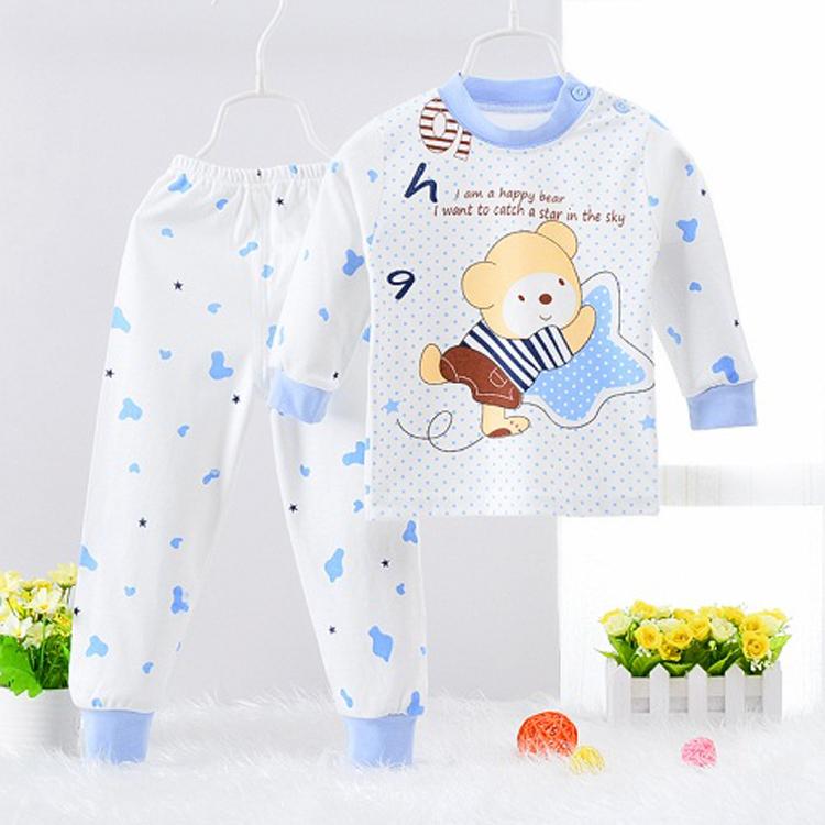 8cbb42bc6792 Summer children s sleepwear suit boys and girls cotton long sleeve ...