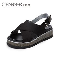 C.BANNER/千百度2018夏季新品商场同款休闲松糕底女凉鞋A8395115