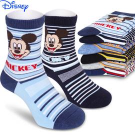迪士尼儿童棉袜男童秋冬0-16岁纯棉中大童学生袜子中筒宝宝全棉袜图片