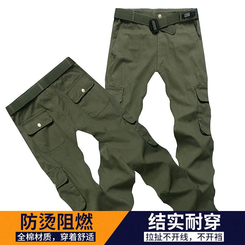 夏季工作裤男耐磨宽松多口袋电焊防烫劳保工作裤直筒裤工作服裤子