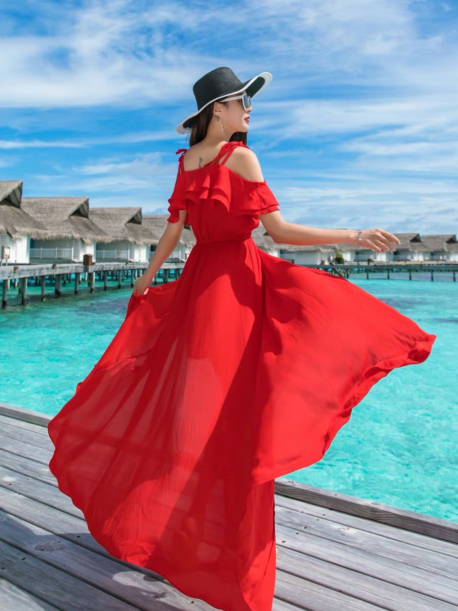 Summer 2020 new solid color one line shoulder lotus leaf sling long dress Maldives holiday beach dress female Xiaxian