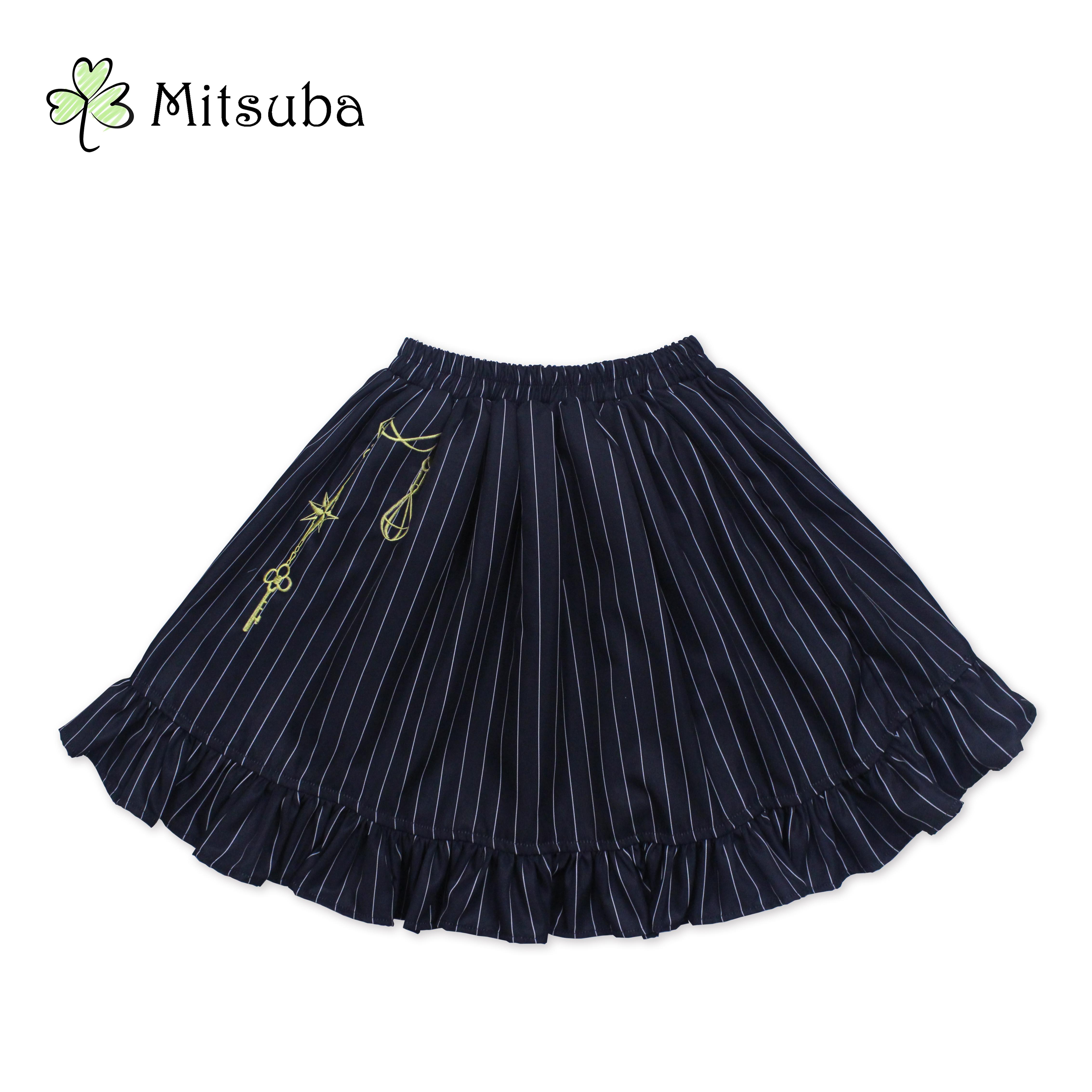 【清仓预约】三叶亭Mitsuba 原创设计 星之钥匙 sk条纹半裙刺绣