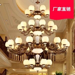 豪华别墅大吊灯挑空客厅四层36头大气复式楼中楼梯锌合金玉石灯具