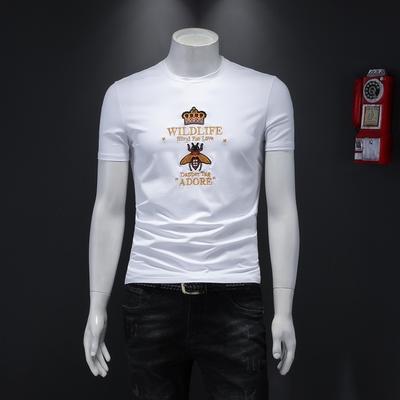 D322 20131 P70 2019夏装新款潮流丝光修身男士短袖t恤 假模