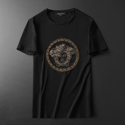 2019夏装新款欧货?#22871;?#19997;光棉男士短袖T恤 D322 99175 P60 黑底