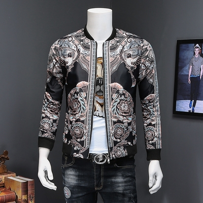 2018春装新款男士夹克外套修身中国风复古花夹克 D322 812 P105