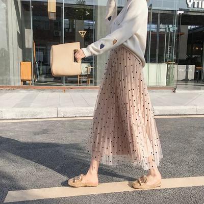 波点半身裙纱裙点点雪纺中长款女学生2019秋冬很仙的新款长裙薄