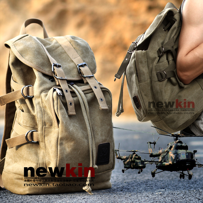 Backpack, mens canvas bag, vintage backpack, European and American outdoor leisure short trip bag, student bag, motorcycle bag