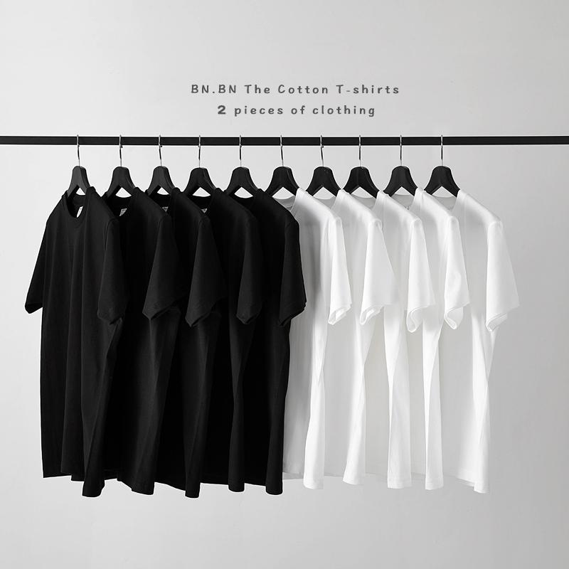 恤男纯色潮半袖厚实打底衫T恤日本简约白色T短袖男210g两件装