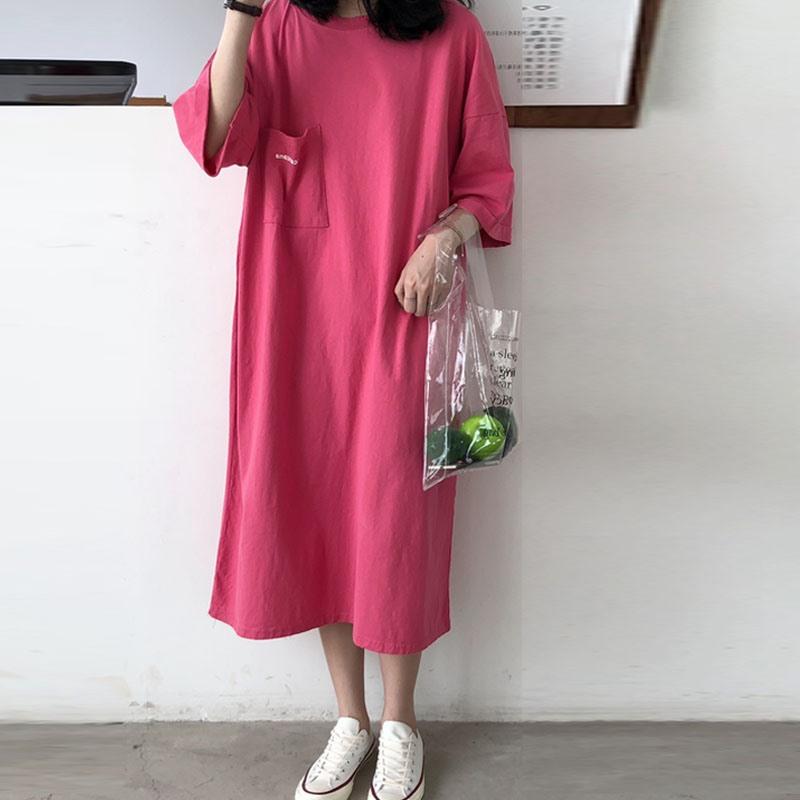 夏季韩国bf风短袖女超长款过膝宽松大码胖mm纯棉大T恤连衣裙长裙